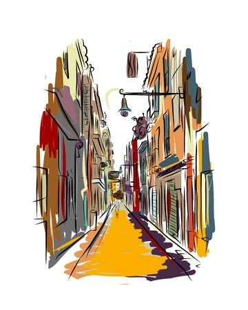 Old european street, sketch for your design