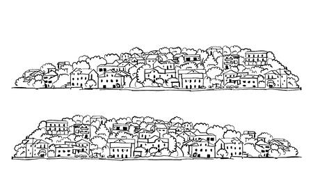Alte europäische Stadt. Mittelmeer. Skizze für Ihr Design. Vektor-Illustration