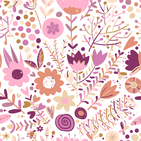 Floral seamless pattern, sketch for your design. Vector illustration Archivio Fotografico - 128174774