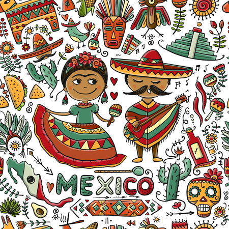 Travel to Mexico. Seamless pattern for your design Archivio Fotografico - 110618774