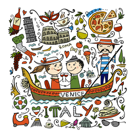 Travel to Italy. Greeting card for your design  イラスト・ベクター素材