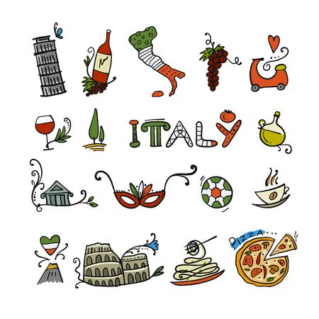 Travel to Italy. Icons set for your design. Vector illustration Иллюстрация