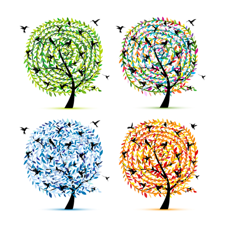 Hummingbird tree, four seasons for your design
