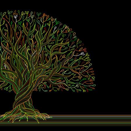 Big tree with roots for your design. Vector illustration Ilustração