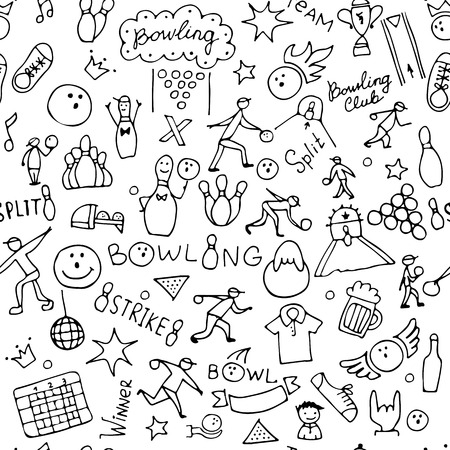 Bowling, seamless pattern for your design. Vector illustration Ilustracja