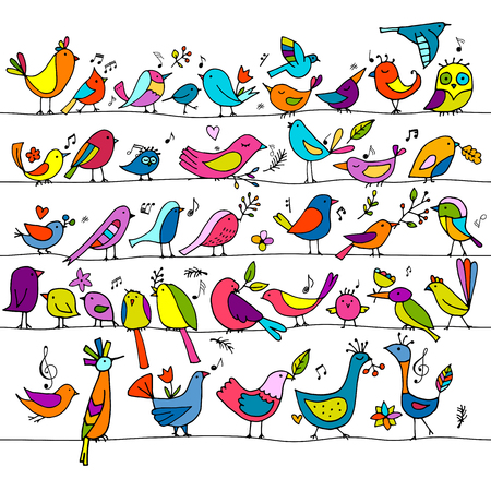 Birds family, seamless pattern for your design. Vector illustration Imagens - 128174808