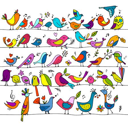 Birds family, seamless pattern for your design. Vector illustration Illustration