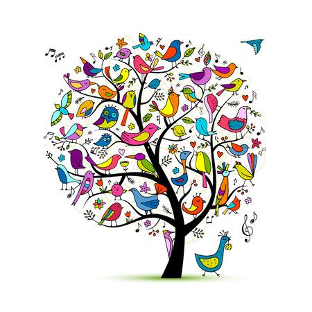 Árbol con pájaros, boceto de su diseño Ilustración de vector