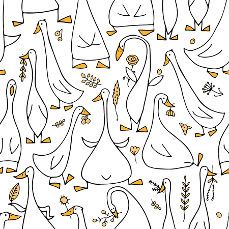 Funny goose family, seamless pattern for your design
