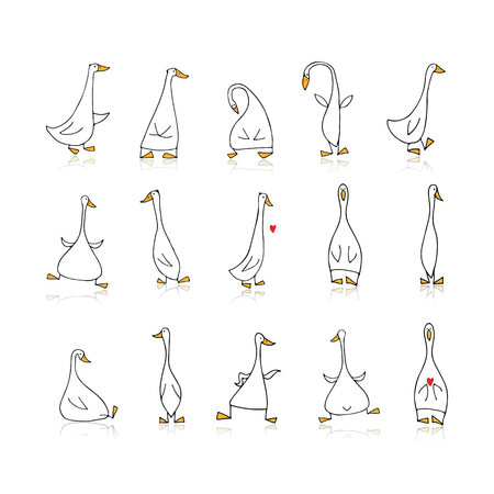 Funny goose set, sketch for your design 矢量图像