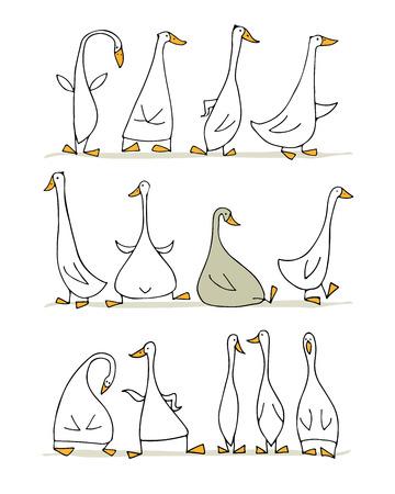 Conjunto de ganso divertido, boceto de su diseño Ilustración de vector