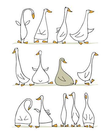 Funny goose set, sketch for your design Иллюстрация