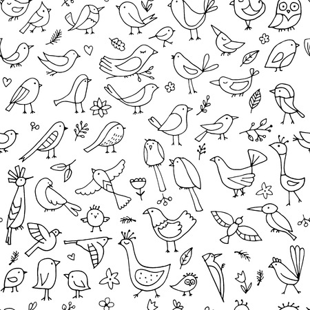 Birds family, seamless pattern for your design. Vector illustration Иллюстрация