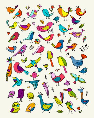 Birds collection, sketch for your design. Vector illustration Illustration