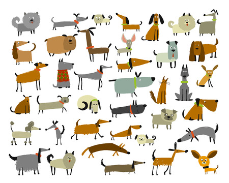 Cute dogs collection, sketch for your design. Vector illustration