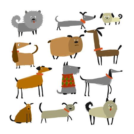 Colección de perros graciosos, boceto para su diseño Ilustración de vector