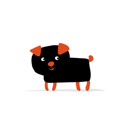 Funny pug dog, sketch for your design