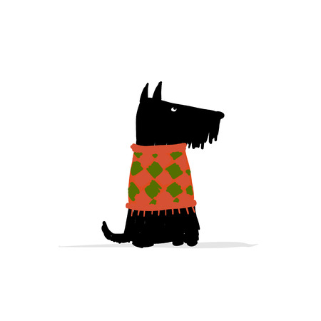 Cute schnauzer dog, sketch for your design Illustration