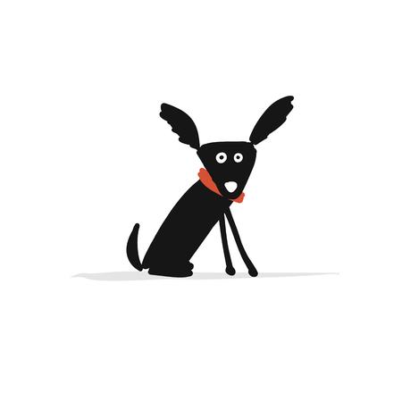 Perro pequeño divertido, boceto de su diseño