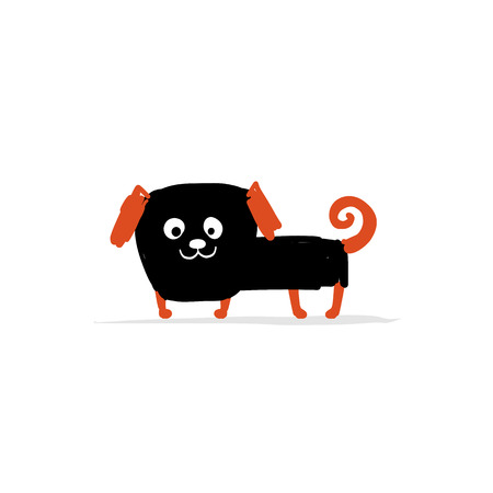 Perro pug divertido, bosquejo de su diseño Ilustración de vector