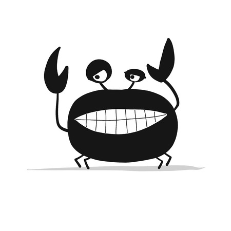 Funny crab, black silhouette for your design Illustration