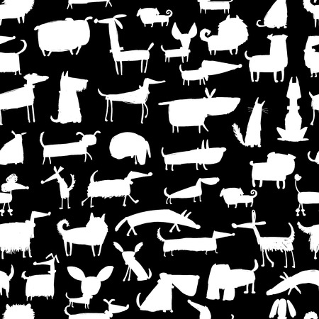 Cute dogs collection, sea,less pattern for your design. Vector illustration