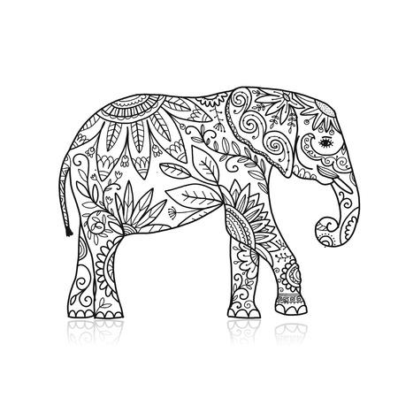 Sierlijke olifant, schets voor uw ontwerp Vector Illustratie