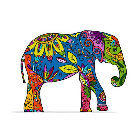 Elefante adornado, boceto para su diseño Ilustración de vector