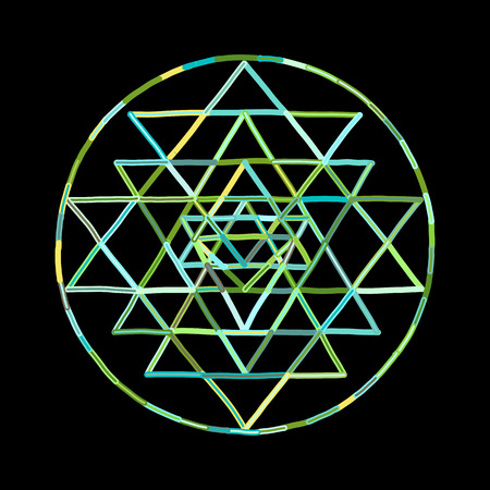 Sacred geometry and alchemy symbol Sri Yantra. Hand drawn sketch for your design