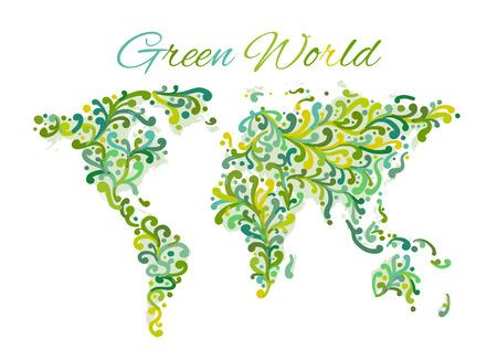 World map, floral ornament for your design Ilustração