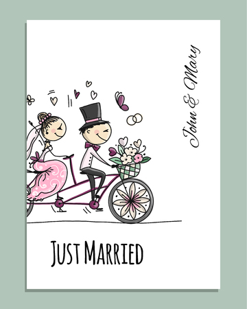 Wedding card design. Bride and groom riding on bicycle Stock Photo