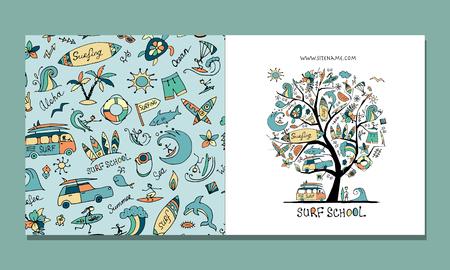 Scuola di surf, design di biglietti di auguri