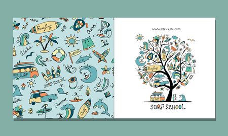 Surf school, greeting card design
