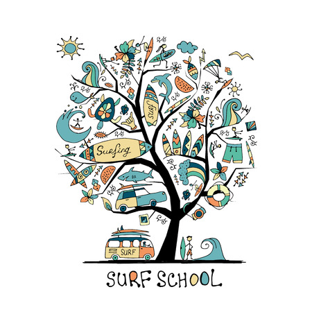 Art tree with surfing design elements. Surf school