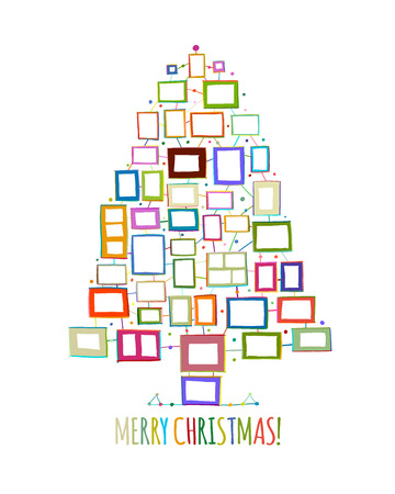 Christmas tree made from photo frames, greeting card for your design. Vector illustration Illustration