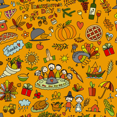Thanksgiving day, seamless pattern for your design Stock Photo