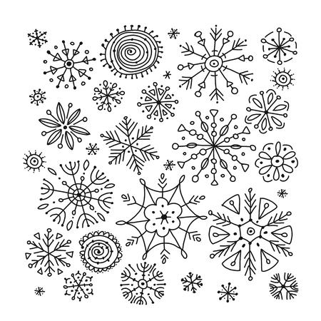 Collection de flocons de neige dessinés à la main pour votre conception. Illustration vectorielle Vecteurs