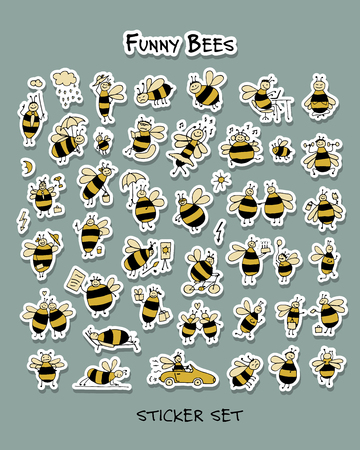 Funny bee, sticker set for your design. Vector illustration Stock fotó - 128174843