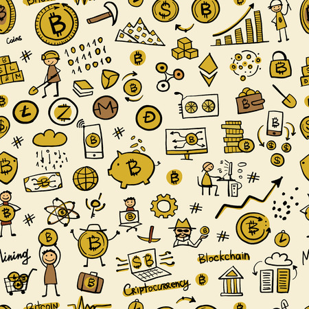 Bitcoin, cryptocurrency and blockchain technology, seamless pattern for your design