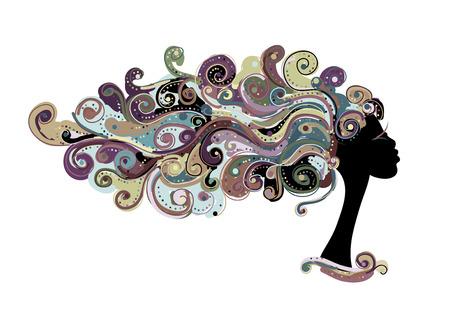 Peinado ondulado, cabeza femenina para su diseño. Ilustración de vector