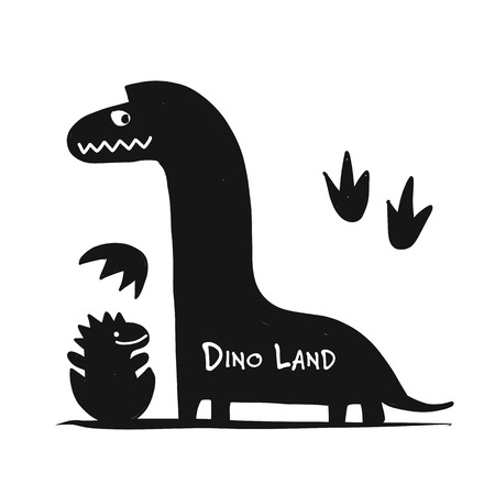 Funny dinosaur, black silhouette, childish style for your design Stock Vector - 111095729