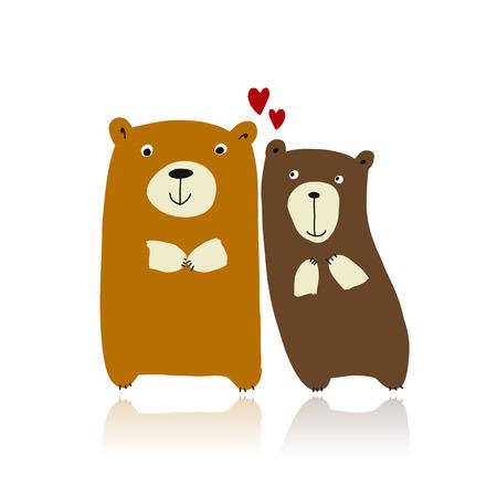 Funny bears family, sketch for your design Standard-Bild - 111173703