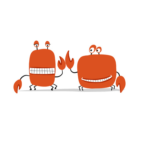 Funny friends crabs, sketch for your design. Vector illustration Иллюстрация