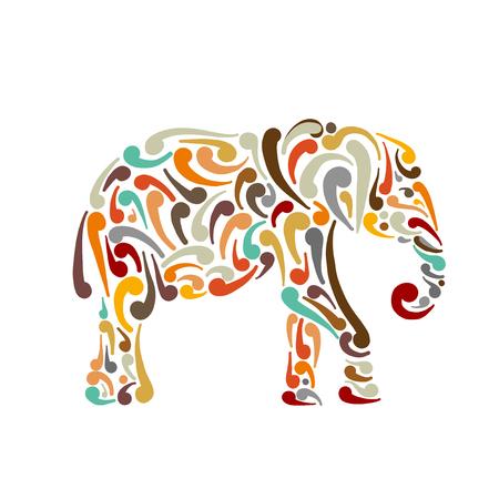 Elephant ornate, sketch for your design. Vector illustration Standard-Bild - 111173795