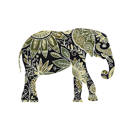Elefante adornado, boceto para su diseño. Ilustración vectorial