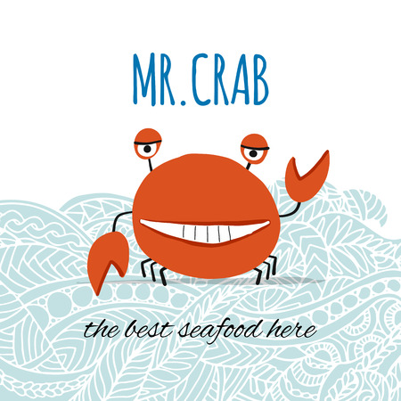 Funny crab, banner for your design. Vector illustration 写真素材