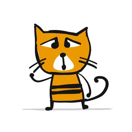 Cat, sketch for your design. Vector illustration