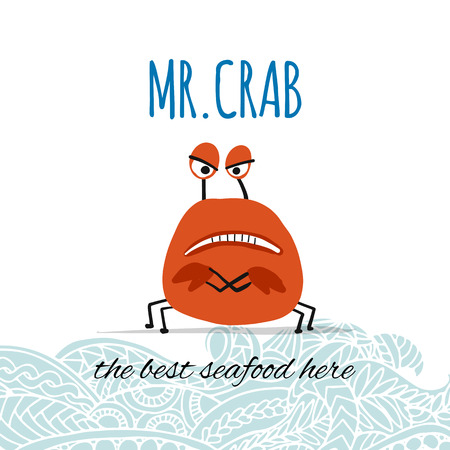 Funny crab, banner for your design. Vector illustration Stockfoto