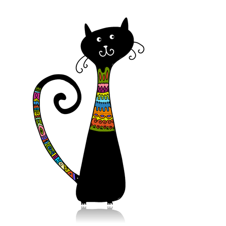 Gato negro en suéter acogedor, boceto de su diseño. Ilustración vectorial