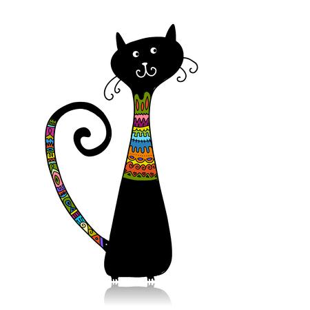 Schwarze Katze im gemütlichen Pullover, Skizze für Ihr Design. Vektor-Illustration